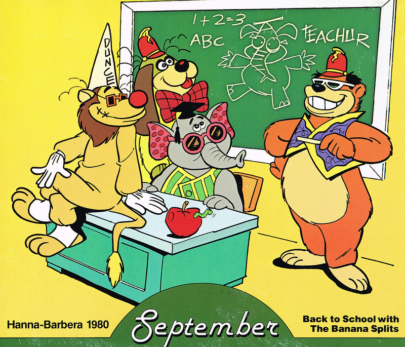 Back to School with The Banana Splits. Calendar page courtesy of Kerrytoons