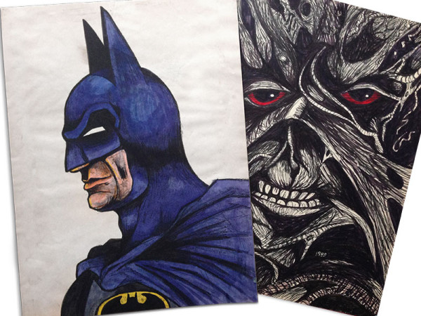 Early attempts at drawing Batman and Swamp Thing