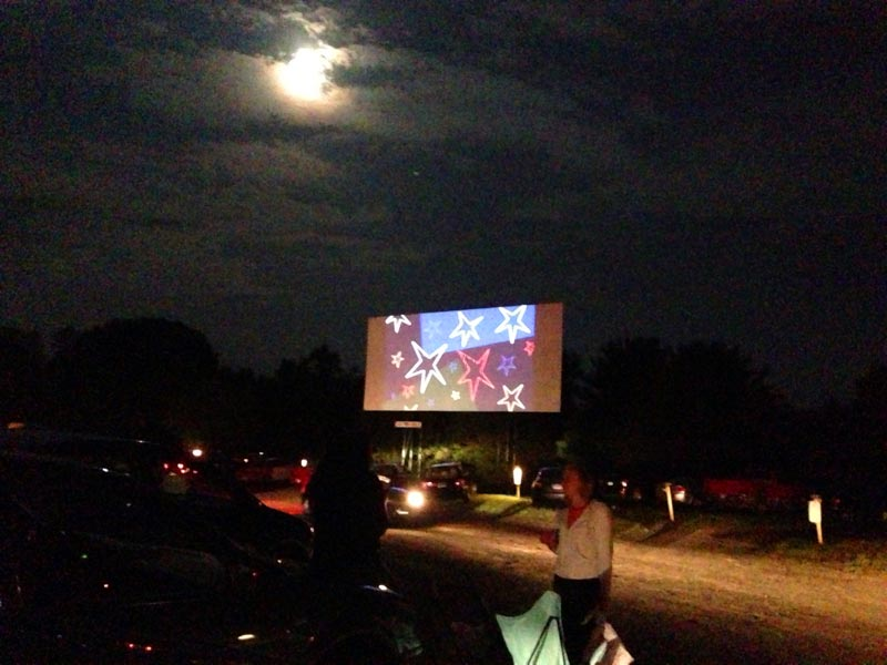Full moon intermission at the Mansfield Drive-In