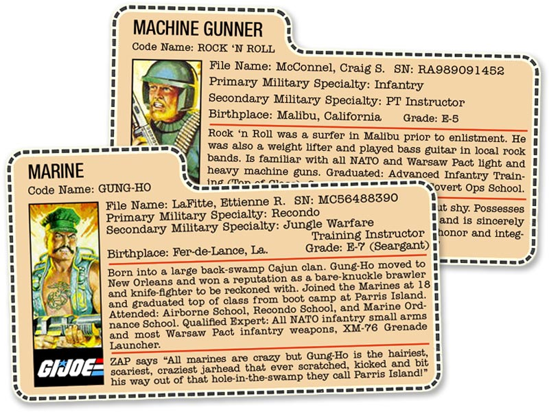 G.I. Joe file cards, codenames Rock 'N Roll and Gung-Ho