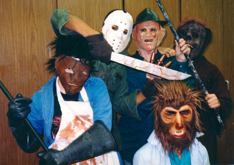 Posing in our haunted house costumes, 1988