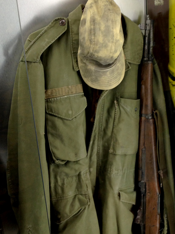 Captain Quint's hat, jacket, and rifle