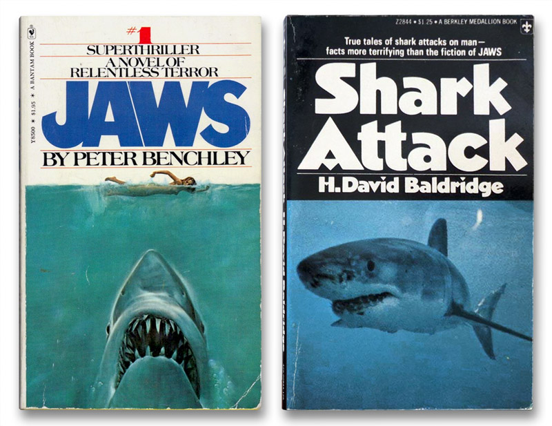 Jaws by Peter Benchley and  Shark Attack by H. David Baldridge