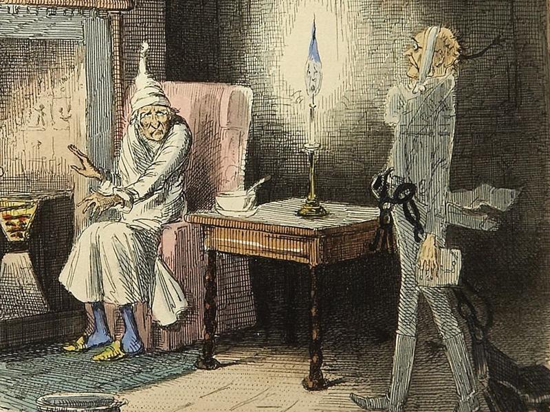 Marley's ghost illustration by John Leech, 1843