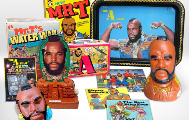 A small sampleing of vintage Mr. T merchandise