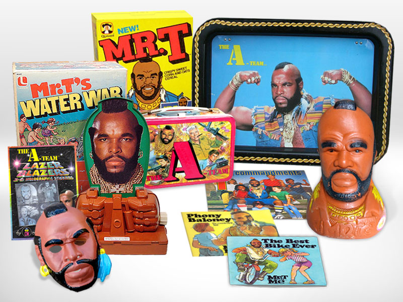 A small sampling of vintage Mr. T merchandise