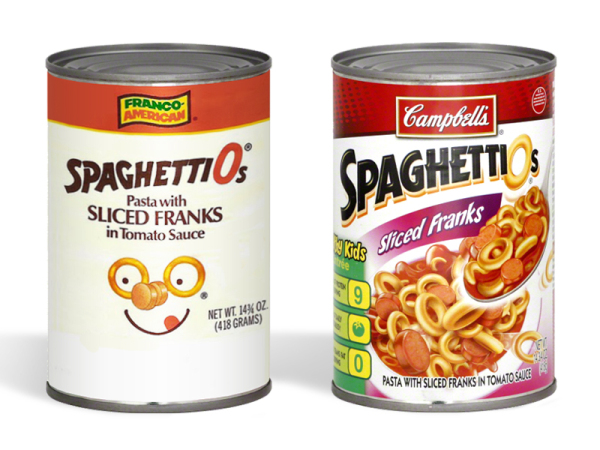 SpaghettiOs wth Sliced Franks, then and now