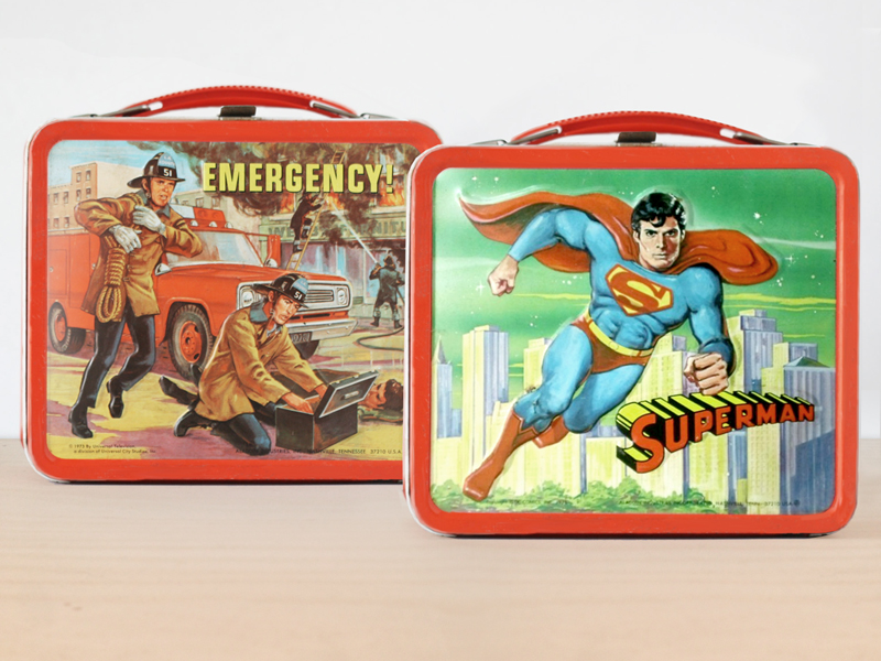 Emergency! and Superman lunchboxes
